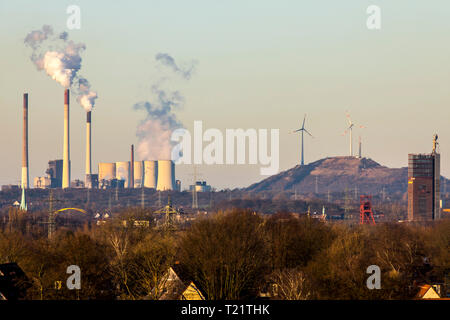 View over the Nordsternpark in Gelsenkirchen, on the Scholven heap with the EON Scholven coal-fired power plant, Germany - Stock Photo