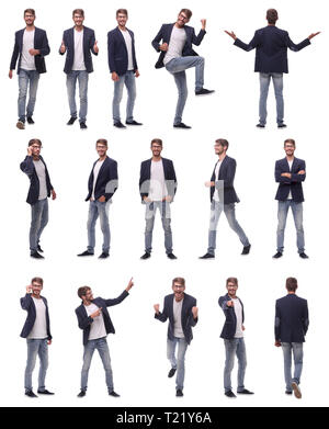 collage of photos of a successful young man - Stock Photo