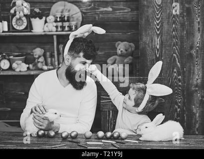 Happy easter! Rabbit's family with bunny ears. - Stock Photo