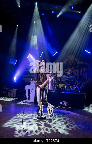 The Struts perform at Shepherd's Bush Empire  Featuring: Luke Spiller, The Struts Where: London, United Kingdom When: 26 Feb 2019 Credit: Neil Lupin/WENN - Stock Photo