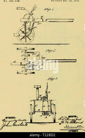 Archive image from page 897 of Digest of agricultural implements, patented Digest of agricultural implements, patented in the United States from A.D. 1789 to July 1881 ..  digestofagricult02alle Year: 1886  JJS.i S. p. LANOSrORt i W. N STEOtl. SULKY ATTACBHEST FOR PLOWS Ml 185.338 P.iLitl Die.    2 Sheets-Sheet 1. I. CBiPHiM. OAHQ-PLOW. So. 185.493. P.te.t.d Dec 19, ie76. JSheets-Sheeta. Fitented Sec. 19. 137E. - Stock Photo