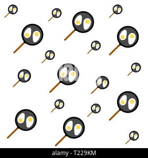 Many frying pans with Fried eggs on white Background. Creative Food Illustration of Fried eggs in frying pans. - Stock Photo