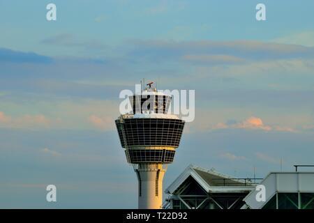 Air traffic control tower, Franz Josef Strauss International Airport, Munich, Germany, Europe - Stock Photo