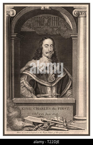 "King Charles Ist Vintage B&W fine etch engraving of King Charles 1st 1648 from an original by Vandyke held in the royal palace of Hampton Court UK ""KING CHARLES THE FIRST"" Jan 1648 - Stock Photo"