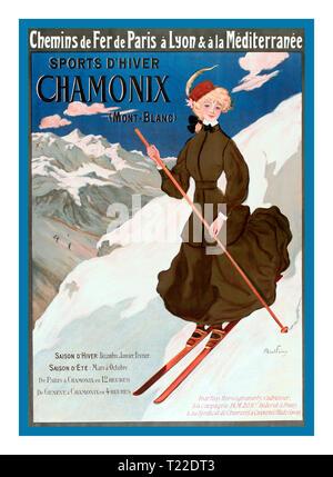 Vintage Chamonix French Ski Skiing Poster 1900's By French Railway via Paris Lyon and Mediterranée Sports d'hiver-winter sports. Chamonix (Mont-Blanc) France 1905 - Stock Photo
