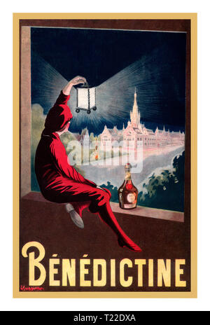 Vintage Leonetto Cappiello French Drink Alcohol Poster Réclame Bénédictine couleur Leonetto Cappiello 1908 Poster Advertising 'Benedictine' by Leonetto Cappiello Advertising published in the monthly magazine 'La bonne chanson' in 1908 A man dressed in red, sitting on the edge of a window, raises a lantern that highlights the 'Benedictine palace' of Fécamp, France, where the liquor is produced 1908 - Stock Photo