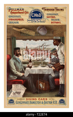 Vintage 1880's Rail Train CH&D Poster. Luxury American Pullman dining cars compartment cars, through trains. Cincinnati, Indianapolis, Chicago. Cincinnati, Dayton, Toledo, Detroit. Interior of dining cars on the Cincinnati, Hamilton & Dayton R.R. Advertising poster shows two men seated at a table in a dining car on a train being served by an African American porter. - Stock Photo