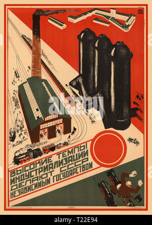 "Vintage USSR Soviet Russian Soviet Union Political Propaganda Poster 1930 ""High rates of industrialization make the USSR an independent state"" - Stock Photo"