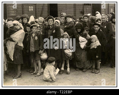 """Auschwitz-Birkenau camp arrivals. Poignant stark image of women & children wearing Nazi designated yellow stars arriving by insanitary cattle trucks in Auschwitz-Birkenau, a WW2 German Nazi Concentration & Extermination camp. Jewish children were the largest group of those deported to the camp along with adults, beginning 1942, as part of  """"final solution of the Jewish question""""—the total destruction of Jewish population of Europe. Auschwitz concentration camp was in a network of  Nazi extermination camps operated by the Third Reich in Polish areas annexed by Nazi Germany during World War II. - Stock Photo"""