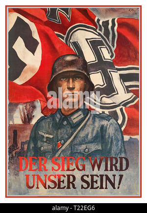 "Vintage WW2 Nazi Germany 1940's Propaganda Poster Whermacht Soldier with Nazi Swastika Flag  ""The Victory Will Be Ours"" 'DER SIEG WIRD UNSER SEIN!' - Stock Photo"