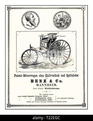 Vintage advertisement for the world's first car: The Benz Patent Motor Car. It was built in a total of three variants from 1886 to 1894 Carl Benz introduced the Patent Motor Car in 1886 and subsequently built several units of this three-wheeler, about 25 vehicles in total. The Model I was the original Patent Motor Car. It featured wire wheels and a number of design details adopted from advanced contemporary bicycle manufacture.The Benz Patent-Motorwagen ('patent motorcar'), built in 1885, is widely regarded as the world's first production automobile. - Stock Photo