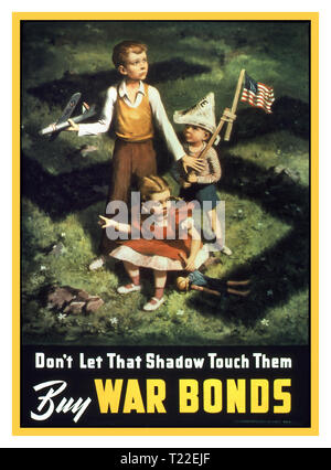 "Vintage 1940's WW2 USA American Propaganda Poster ""Don't Let That Shadow Touch Them Buy War Bonds."" Children in garden setting with threatening shadow of Nazi Germany Swastika falling on them. - Stock Photo"