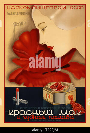Vintage cosmetics 1930's Russian Soviet Poster Advertising cosmetics 'Red Poppy' factory TEZHE TeZhe was the first popular beauty brand in the Soviet Union selling soaps, creams, powders, mascaras, lipsticks and colognes. Moscow, 1938 Chromolithograph - Stock Photo