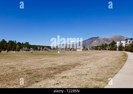 Adults playing friendly soccer, football, game, finding a fun way to stay healthy and in shape, at Foxglenn Park, Flagstaff, Arizona, USA - Stock Photo