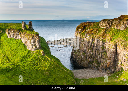UK, Northern Ireland, Dunseverick Castle near the Giant's Causeway - Stock Photo