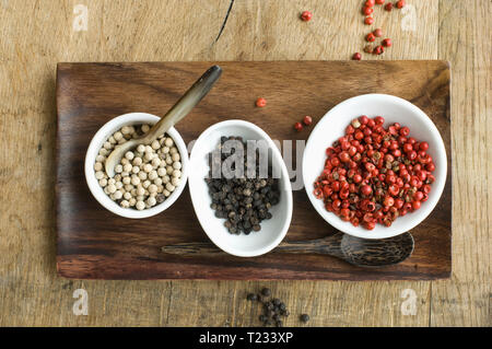Bowls with various sorts of pepper - Stock Photo