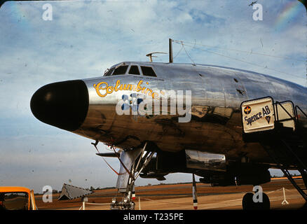 Dwight Eisenhower's presidential aircraft, Columbine III, at Spence Air Base, Moultrie, GA, in February 1959. Eisenhower used the Lockeed Constellation from 1954 to 1961. Columbine III was Eisenhower's third aircraft and the second plane to utilize the moniker Air Force One. In 1966 the Air Force retired the plane and moved it to the National Museum of the US Air Force at Wright-Patterson AFB, where it is still on display. - Stock Photo