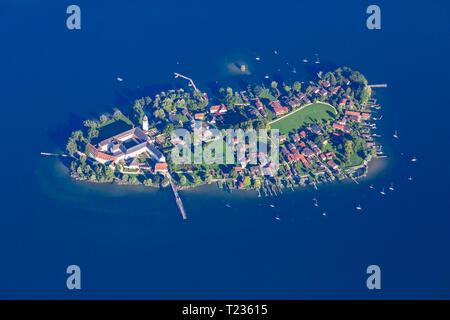 Germany, Bavaria, Chiemgau, Aerial view of Lake Chiemsee, Frauenchiemsee - Stock Photo