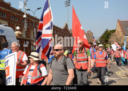 Leave Means Leave Rally on the day the UK was supposed to leave the EU - 29th March 2019. March to Leave arrives at Craven Cottage. - Stock Photo