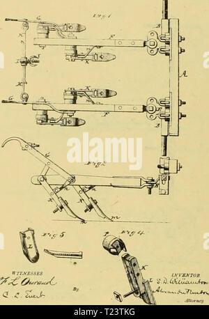 Archive image from page 269 of Digest of agricultural implements, patented Digest of agricultural implements, patented in the United States from A.D. 1789 to July 1881 ..  digestofagricult02alle Year: 1886  cJhZ p. ./feu... .H'Jt.tt hut.    2Slitil»-Sh.il2, S. I, WILLUHSCN.' DOUBLE-PLOW , 170,146. Pjuctld lt07, 16. 187S. T. J. PRICI i, A. Hum, COLTIVATOK, IL J L Ib- m JgiSi *5i- - Stock Photo