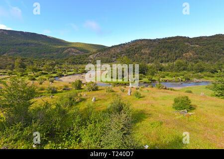 Natural landscape, stream at Fireland, National park Tierra del Fuego, Argentina - Stock Photo