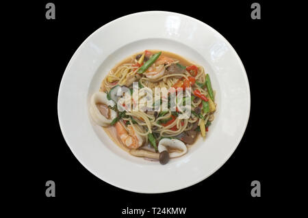Stir-fried Spicy Spaghetti Seafood Thai Style (Spaghetti Pad Kee Mao) . - Stock Photo