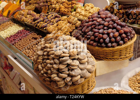 Dried fruits, sweetness, spices and teas sell on the Egyptian market in Istanbul, Turkey - Stock Photo