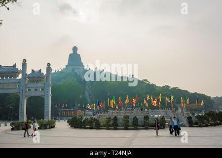 Hong Kong, China - Dec.2013:The large bronze statue of Buddha Shakyamuni known as Tian Tan Buddha is 34 meters tall and weighs over 250 tons. Ngong Pi - Stock Photo
