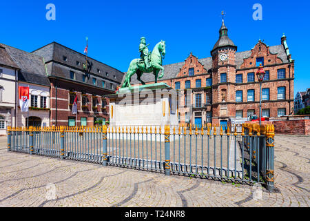 Rathaus or old town hall is located at the market square in aldstadt old town of Dusseldorf in Germany - Stock Photo