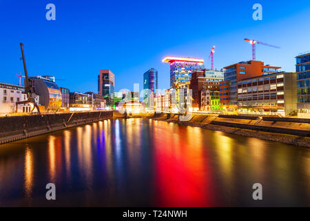 Neuer Zollhof is the building complex located at Media Harbour district in Dusseldorf city in Germany - Stock Photo