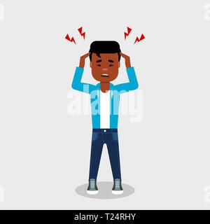 Young African American with a headache. Guy holding head having migraine. Frustration, anger, pain, concerned, worried,concept. Stressed, disappointed - Stock Photo
