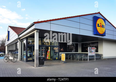 Nowy Sacz, Poland - March 20, 2019: Exterior view of the Lidl Store. Lidl is a large German global discount supermarket chain based in Neckarsulm. - Stock Photo