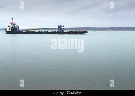 The 75 Metre Long VESTAS BLADES UK LTD, MTB BLADE RUNNER TWO, Deck Cargo Ship, Departing Southampton Harbour, UK. - Stock Photo