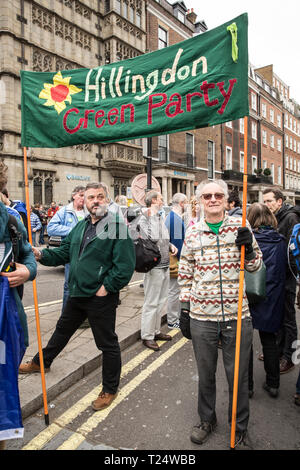 """London, UK - 23 March 2019 - Hundreds of thousands of people from right across the UK join a march and rally to support """"Giving the people a final say - Stock Photo"""