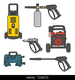 set of vector illustration pressure washer machine electric with spray gun equipment flat design style - Stock Photo