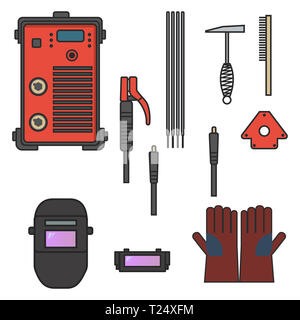 set of vector illustration welding arc equipment machine glove helmet holder hammer for industrial construction and metal working flat design style - Stock Photo