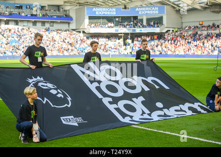 The Premier Leagues No Room For Racism campaign  during the Premier League match between Brighton & Hove Albion and Southampton at The American Express Community Stadium . 30 March 2019 Photograph taken by Simon Dack  Editorial use only. No merchandising. For Football images FA and Premier League restrictions apply inc. no internet/mobile usage without FAPL license - for details contact Football Dataco - Stock Photo