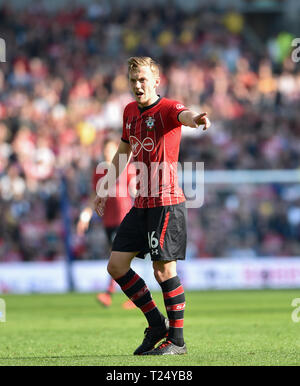 James Ward-Prowse of Southampton during the Premier League match between Brighton & Hove Albion and Southampton at The American Express Community Stadium . 30 March 2019 Editorial use only. No merchandising. For Football images FA and Premier League restrictions apply inc. no internet/mobile usage without FAPL license - for details contact Football Dataco - Stock Photo