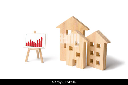Wooden houses with a stand of graphics and information. Growing demand for housing and real estate. Statistics on the state of the market and the numb - Stock Photo