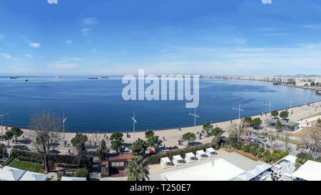 Aerial view of Nea Paralia seafront at Thessaloniki, Greece