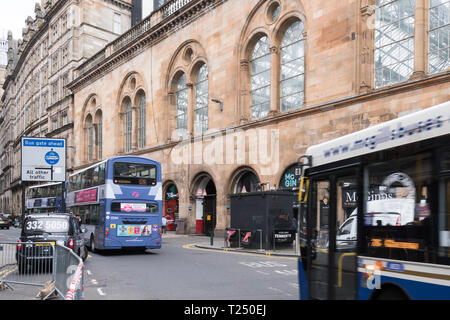 Hope Street Glasgow, Scotland's most polluted street - buses driving past Kerbside air quality monitoring site- Glasgow, Scotland, UK - Stock Photo