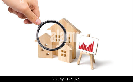 Magnifying glass is looking at the wooden houses with a stand of graphics and information. Growing demand for housing and real estate. Investments. co - Stock Photo