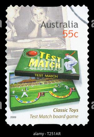 AUSTRALIA - CIRCA 2009: A stamp printed in Australia dedicated to classic toys, shows test match board game, circa 2009. - Stock Photo