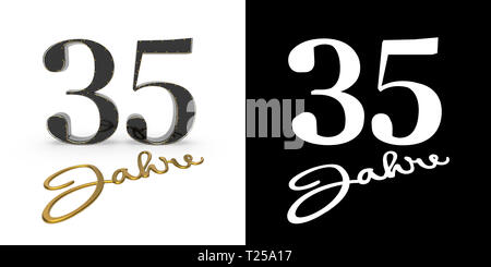 German golden number thirty-five years (number 35 years) and the inscription years with drop shadow and alpha channel. Translated from the German - ye - Stock Photo