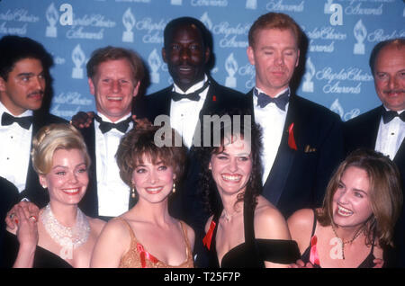 CULVER CITY, CA - MARCH 8: (L-R) Actor Nicholas Turturro, actor Bill Brochtrup, actor James McDaniel, actor David Caruso, actor Dennis Franz, actress Gail O'Grady, actress Sharon Lawrence, actress Amy Brenneman and actress Sherry Stringfield attend the 20th Annual People's Choice Awards on March 8, 1994 at Sony Picture Studios in Culver City, California. Photo by Barry King/Alamy Stock Photo - Stock Photo