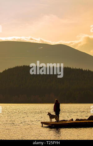 Woman stood on the jetty at Loch Morlich with her siberian husky dog in golden sunshine near Aviemore, Scottish Highlands, UK - Stock Photo