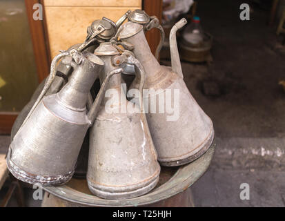 traditional turkish old copper water containers; ewers - Stock Photo