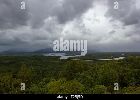 Aerial landscape view of Barron Gorge National Park a World Heritage in Atherton Tablelands Cairns Highlands at the Wet Tropics of Queensland - Stock Photo