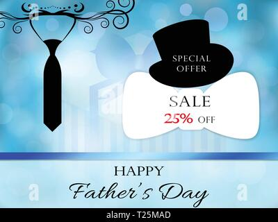 Happy Fahters Day creative promotional concept. Festive style with ornament necktie silhouette, in the background bokeh, gift box. Special offer text  - Stock Photo