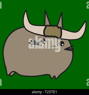 Bunny zodiac sign Taurus in cartoon style.  illustration on color background. - Stock Photo